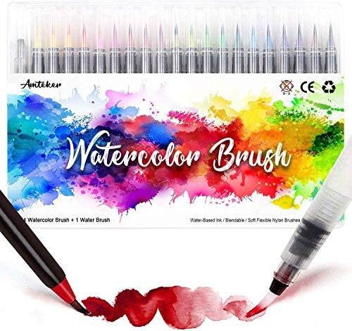 Amteker Pinselstifte Aquarell - 24+1 Brush Pen Set Handlettering Stifte Set, Manga Zeichnen Stifte, Kalligraphie Set, Aquarellpinsel Lettering Stifte Set für Bullet Journal, Kalligraphie, Geschenk
