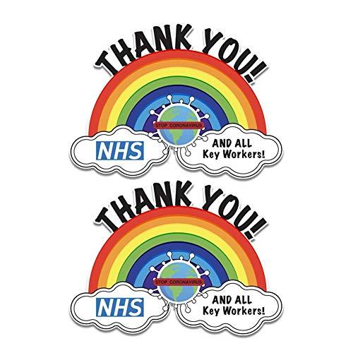 Thank You NHS Rainbow Sticker, PVC Raam Muur Sticker, Car Shop Home Sticker