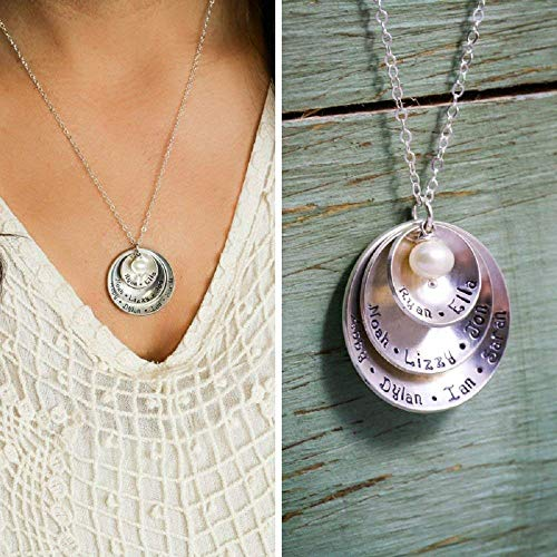 Personalized Mommy Necklace - ROI - Sterling Silver Grandma Mother Gift Large Family