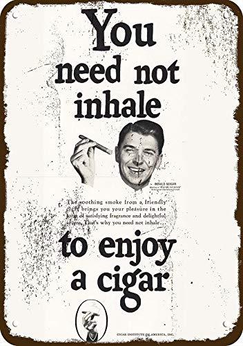 Yilooom 1951 Ronald Reagan Smokes Cigar Vintage Appearance Replica Metal Sign 7' x 10'President