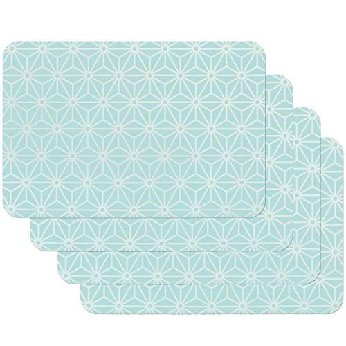 Venilia Bleu Salvamanteles Azul, Mantelería, Mantel Individual para el Comedor, Apto para Alimentos, 4 tajada, 45 x 30 cm, 59060, Osaka Blau, 30 x 45 cm