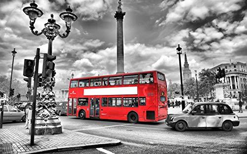 N/V Puzzle per Adulti, Puzzle di Autobus Rosso Cielo Grigio, Puzzle per Bambini in Legno 1000 Pezzi, Regalo educativo intellettuale 75x50cm