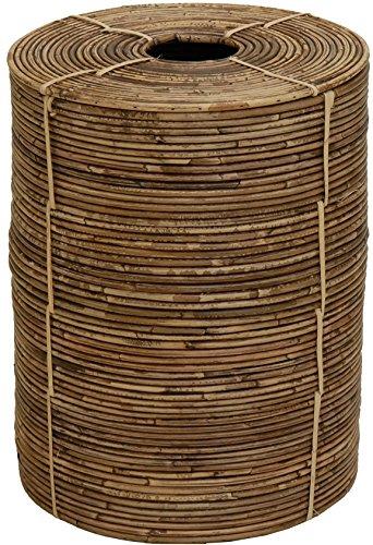 Retro Wäschekorb, Wäschetonne/Flechtkorb, Aufbewahrungskorb aus Rattan/Allzweck-Korb Aufbewahrung Tonne Afrika-Stil mit Einwurf Deckel/Wäschebox Vintage Braun (Klein)