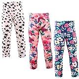 Snyemio Pantalones Leggings Estampado Elásticos Stretch Medias para Niña 2-13 Años Paquete de 3 (Blanco, 86-92)