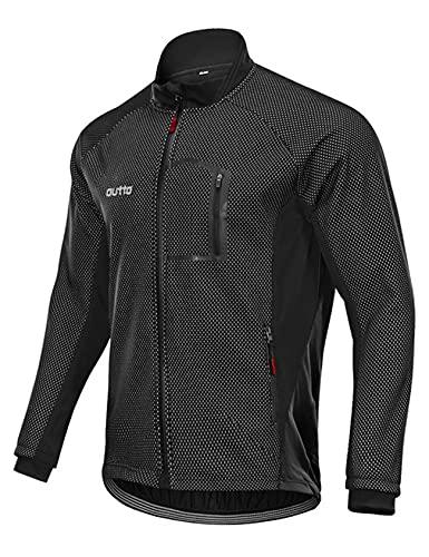 Jueshanzj Polar ciclismo Jersey manga larga hombres otoño e invierno más polar para mantener el calor transfronterizo parabrisas ciclismo Jersey chaqueta hombre, Negro, 4XL