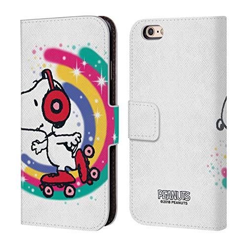 Head Case Designs Licenza Ufficiale Peanuts Skating Colorato Snoopy Passeggiata Aerografata Cover in Pelle a Portafoglio Compatibile con Apple iPhone 6 / iPhone 6s