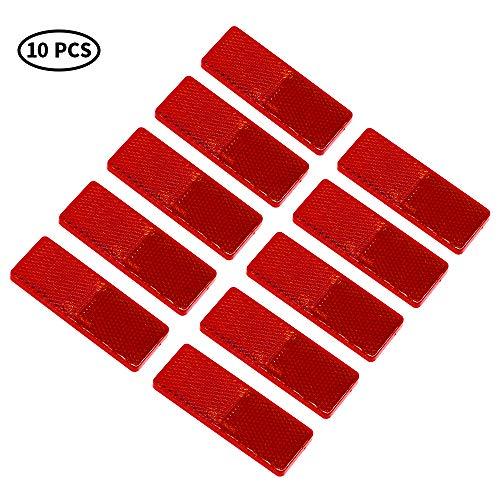 AOHEWEI 10 reflectores autoadhesivos rectangulares, reflectores oblongos, reflectores rectangulares para caravanas de Remolque, adecuados para vehículos, Postes para Puertas de Vallas (Amarillo)