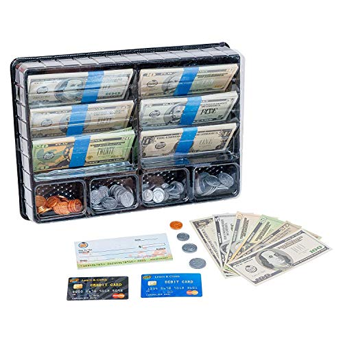 Product Image of the Learn & Climb Play Money Set for Kids – Realistic Dollar Bills, Coins, Credit...