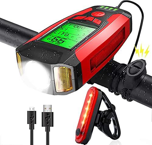Kumkey Luz Bicicleta Recargable LED Luces para Bicicletas Delantera y Trasera con Velocímetro y Bocina, Linterna con Luz Trasera Impermeable para Ciclismo Carretera y Montaña para la Noche (Rojo)