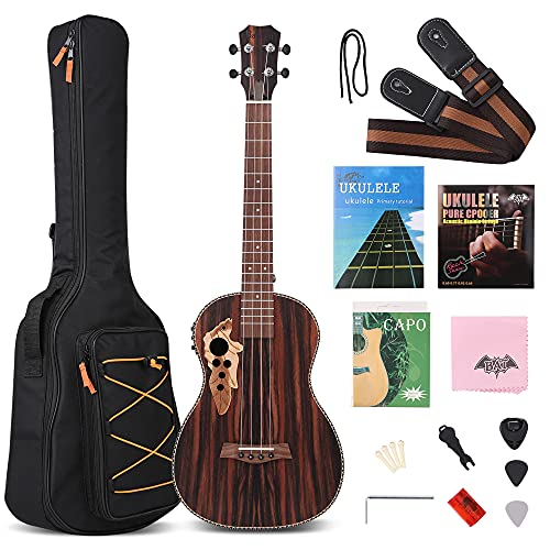 30 Inch All Blackwood Baritone Acoustic Electric Ukulele With Truss Rod...