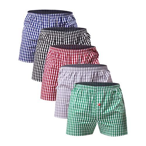 Shujin Herren 1er/4er Pack Basic American Style Boxershorts mit Karo Muster 100% Baumwolle Webboxershorts Hipster Gewebte Boxer Unterhosen Nachtwäsche
