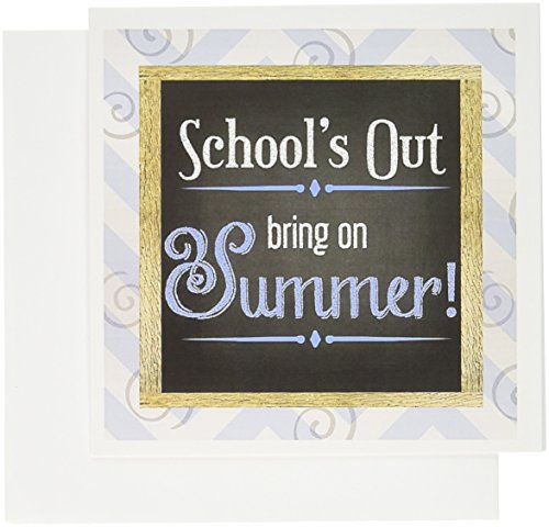 3dRose Schools Out Bring on Summer Chalkboard and Beach Pattern. - Greeting Cards, 6 x 6 inches, set of 12 (gc_173226_2)