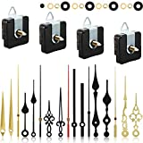 4 Pieces Quartz Clock Movement Mechanism Non Ticking DIY Clock Mechanism with 6 Clock Hands Sets for Repair Parts Replacement (18 mm, Gold, Black)