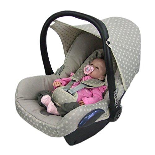 BAMBINIWELT Ersatzbezug für Maxi-Cosi CabrioFix 6-tlg, Bezug für Babyschale, Komplett-Set STERNE BEIGE XX