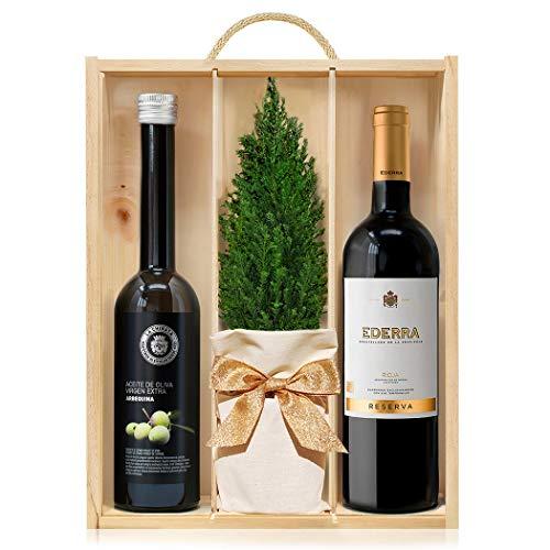 Lote Gourmet Regalo Navidad Delecta Reserva con arbolito navideño, vino tinto Rioja Reserva y aceite de oliva virgen extra en caja de madera con asa y tapa