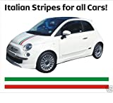 italian flag stripe tape - Fiat 500 bonnet decal stripes Italian flag 100cm (green - white - red)