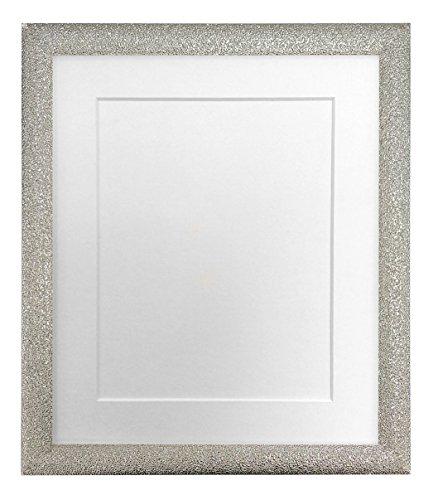 FRAMES DOOR POST Glitz Champagne Zilver Fotolijst met Witte Bevestiging 50 x 70 cm Beeldgrootte 24 x 16 Inch Kunststof Glas
