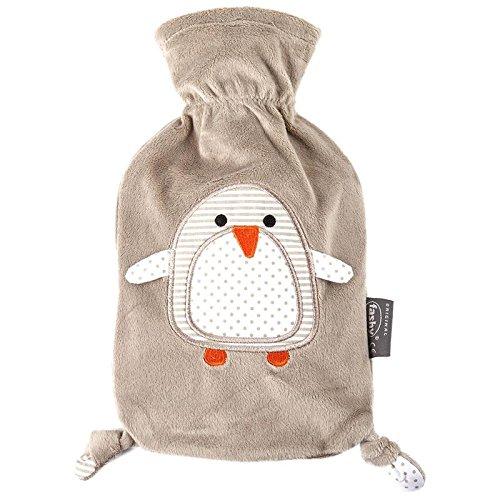 """Fashy """"Pia"""" 35720.4 Wärmflasche / Kinderwärmflasche Pinguin ~ Thermoplast- Wärmeflasche mit kuschelweichem Flauschbezug aus 100% Polyester, robust und langlebig ~ 0,8 Liter"""