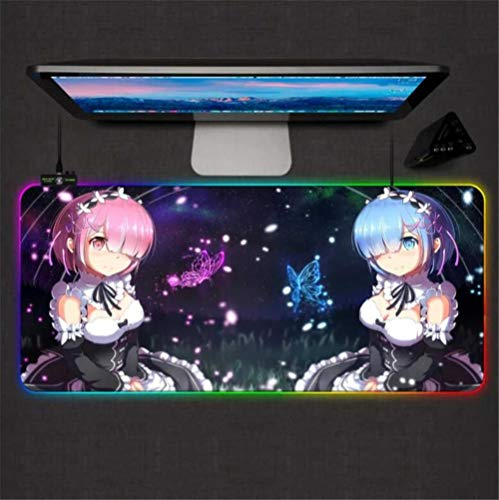 Mouse Pads Re Zero Anime Girl Gaming Mouse Pad RGB Large Gamer Lock Mousepads Led Backlight Computer Office Keyboard Desk Mat 40X90X0.4Cm/XXL