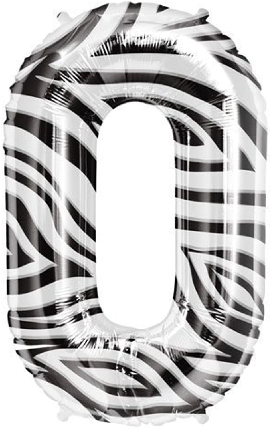 Single Source Party Supplies  34 Zebra Number 0 Mylar Foil Balloon by Single Source Party Supplies