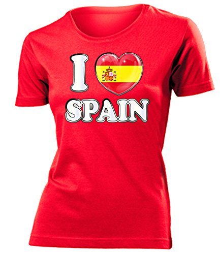 Spanien Espania Spain Fanshirt Fussball Fußball Trikot Look Jersey Damen Frauen t Shirt Tshirt t-Shirt Fan Fanartikel Outfit Bekleidung Oberteil Hemd Artikel