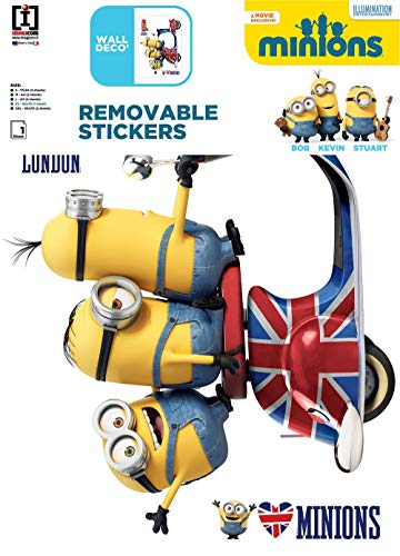 Imagicom WALLMIN02 Minion Decoratieve stickers voor pareten, model Vespa, PVC, meerkleurig, 0,1 x 49 x 68,5 cm