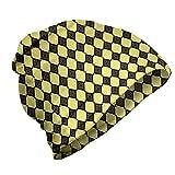 ABAKUHAUS Geométrico Gorro Unisex, Abstract Squares Imágenes, Tela Suave 100% Microfibra Estampada Ideal para Actividades al Aire Libre, del Gris y Amarillo