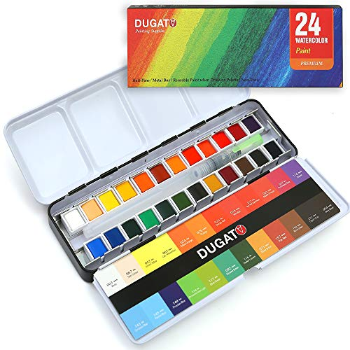 DUGATO Watercolor Paint Set, 24 Assorted Vibrant Solid Colors in Tin Box with Refillable Water Brush Pen, Perfect for Students Kids Beginners Artists, Ideal for Watercolor Techniques