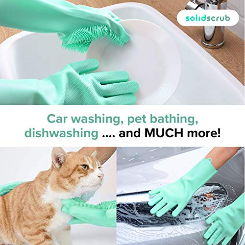 Product Image 6: SolidScrub | Magic Silicone Gloves Scrubbing Gloves for dishes, dishwashing gloves with scrubbers, dish gloves for kitchen, car wash, and pet care | 1 pair, 2 gloves (Green Blue/Aqua)