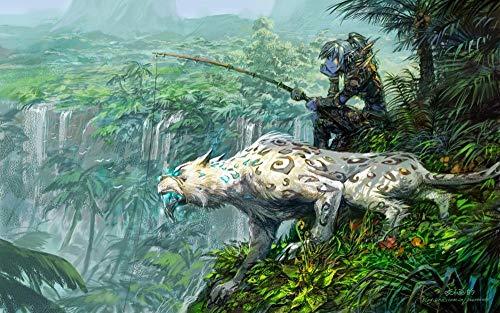 ZGNH Pintar con numeros Adultos niños y Principiantes con Pincel y Pinturas Pintura por números 16 * 20 Pulgadas(sin Marco) Decoración del Hogar Regalo - Videojuego de Pesca Warcraft-World
