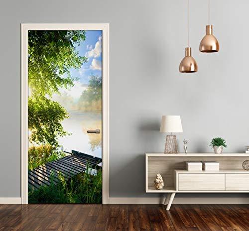 Mural Para Puerta Forest Lake Sunshine Sala De Estar Creativa Dormitorio Desmontable Autoadhesivo Papel Pintado Puertas 77 X 200 cm