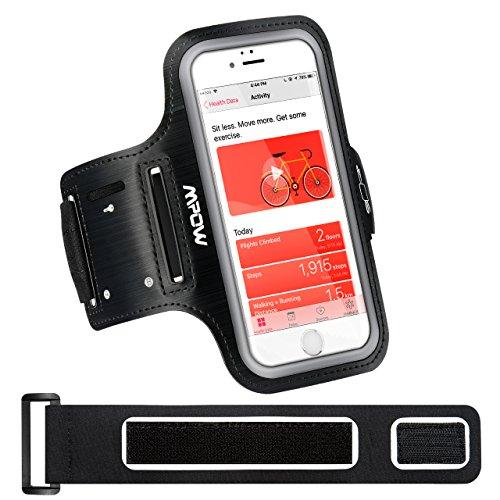 Mpow Sportarmband Handy für iPhone 8/7/6 Bis Zu 5.8 Zoll, Schweißfest Handy Armband Joggen mit Verlängerungsband/Kartenfach/Schlüsselhalter und Kopfhörerhalter, Sportarmband für Samsung Galaxy J5