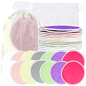 Bamboo Nursing Pads (14 Pack) + Laundry Bag & Travel Storage Bag, 2 Sizes: 3.9/4.7inch Option – Washable & Reusable Nursing Pads