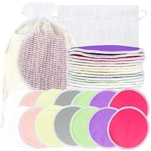 crib bedding and baby bedding bamboo nursing pads (14 pack) + laundry bag & travel storage bag, 2 sizes: 3.9/4.7inch option - washable & reusable nursing pads