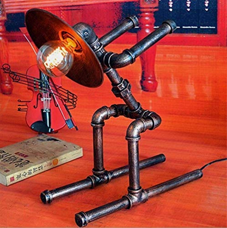 Schreibtischlampe Steampunk Style E27 Sockel Rustikales Kupfer Farbe Schmiedeeisen Wasserpfeife DIY Ski Robot Tischlampe Mit Dimmen Schalter Für Dekor Studie Büro Schlafzimmer Nachttischlampe (Energie