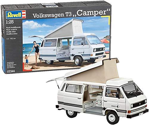 Revell RV07344 Modellbausatz Auto 1:25 - Volkswagen VW T3 Bulli Camper im Maßstab 1:25, Level 3, originalgetreue Nachbildung mit vielen Details, VW Bus, 07344
