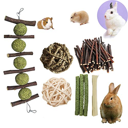 PD Bunny Chew Toys for Teeth, Double Head Suspension, Natural Apple Wood Sticks with Timothy Grass Balls, Improve Dental Health for Rabbits Chinchilla Hamsters Guinea Pigs Gerbils Squirrels (5 pcs)
