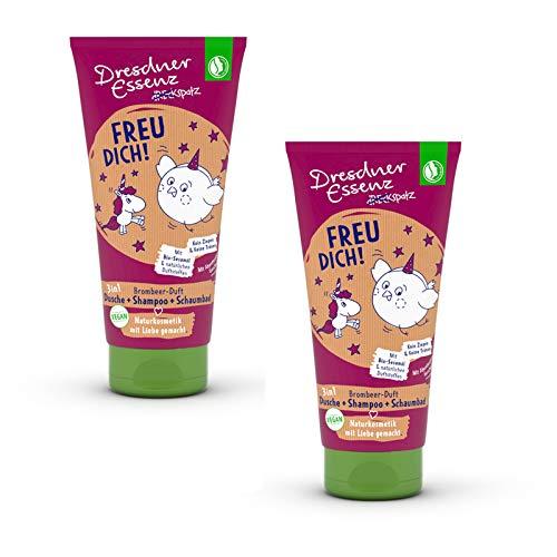 2er Pack Dresdner Essenz Dreckspatz Duschbad & Shampoo für Kinder Freu Dich! 2 x 200 ml Duschgel, Kinderduschbad, Kinderduschgel