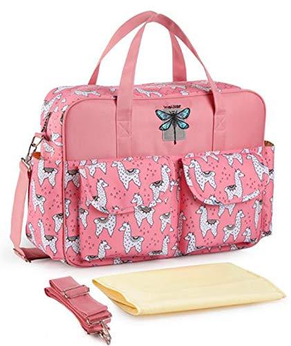 WUQIANG Bolsa de pañales Viajes Multifuncional Bolsa de Asas del pañal, Apto for niños y niñas, con Cambiador de pañales y Correa for el Hombro (Color : Pink)