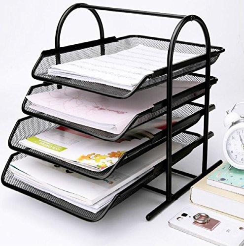 Caveen 4 Tiers Letter Trays Desk Organizer Black Mesh Paper Storage Document Organizer