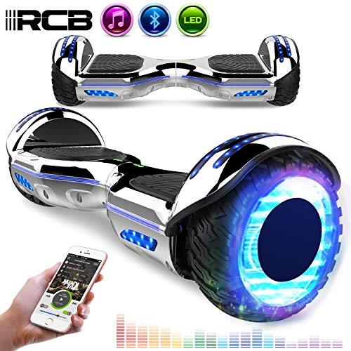 RCB Scooter Elettrico da 6,5 Pollici con LED Bluetooth su ruote brillante Auto bilanciamento 6.5\'\' Lampeggianti Bluetooth per Adulti e Bambini Regalo di Natale