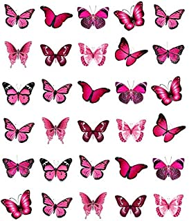 30 obleas comestibles para cupcakes, diseño de mariposas, color rosa