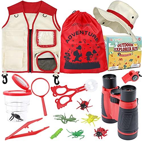 GINMIC Kids Explorer Kit & Bug Catching Kit, 15Pcs Outdoor Explorer Kit for Kids Camping with Binoculars, Safari Costume, Magnifying Glass, Adventure Set Toy Gift for 3-12 Years Old Kids Boys Girls