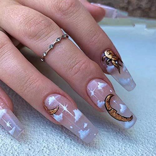 Brishow Sarg Künstliche Nägel Lange Falsche Nägel gefälschte Nägel Sonne & Mond Ballerina Acryl Drücken Sie auf die Nägel Wolken Kleben 24 Stück für Frauen und Mädchen
