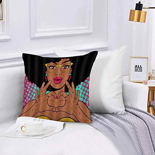 Lilatomer Funda de algodón 45 x 45 cm Chica Afroamericana Estilo Hip Hop Labios Rosados Afro Negra Mujer con Gafas Sofá Throw Cojín Almohada Caso de la Cubierta para Sala de Estar 45x45cm