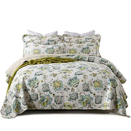 Coverlets Throws Juego de edredón acolchado confort 100% algodón 3 piezas Colcha vintage Ropa de cama King Size Fundas de cama de estilo americano Manta multifunción para todas las estaciones (230x250