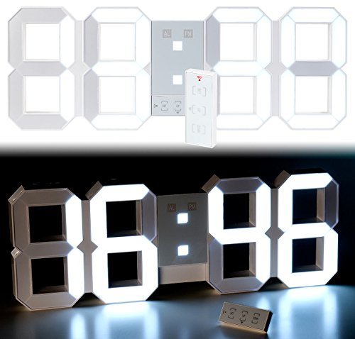 Lunartec LED Uhr Schlafzimmer: Digitale XXL-LED-Tisch- & Wanduhr, 45 cm, dimmbar, Wecker, Fernbedien. (LED Uhr Wand)