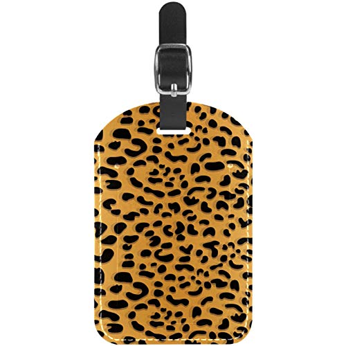 Luggage Tags Leopard Print Background Leather Travel Suitcase Labels 1 Packs