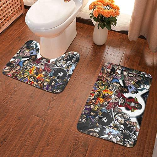 xuexiao Anime - Juego de 2 alfombrillas antideslizantes para baño, alfombrilla de contorno en forma de U, almohadilla de absorción de agua, baño