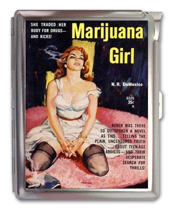 Marijuana Girl Cigarette Case Lighter or Wallet Business Card Holder